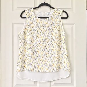 Rose and Olive white and yellow dandelion tank